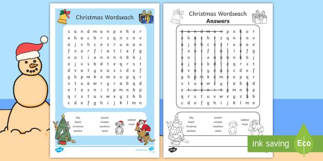 australian christmas wordsearch australia christmas words