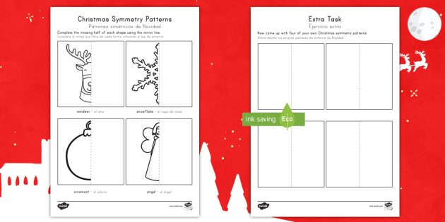 christmas symmetry worksheet worksheet english spanish christmas symmetry. Black Bedroom Furniture Sets. Home Design Ideas