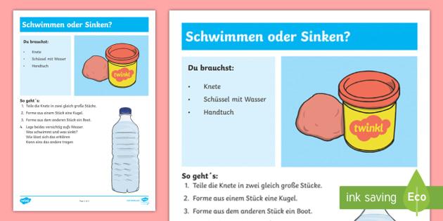 Experiment: Schwimmen oder Sinken? Arbeitsblatt - Sommer