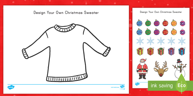 Christmas Sweater Design Cut and Paste Activity - christmas, sweater, design, cut and paste