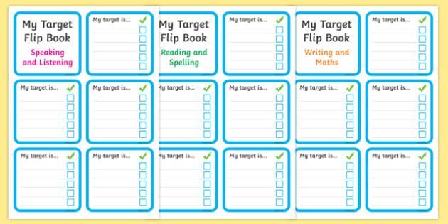 Personal Target Flip Book - Target, flip book, my targets, aims, goals, personal targets