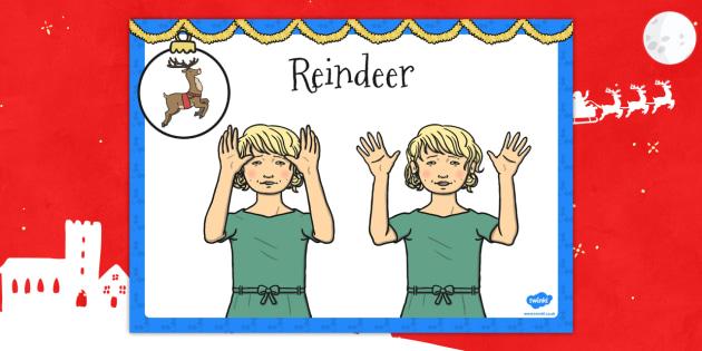 A4 British Sign Language Sign for Reindeer Left Handed - left