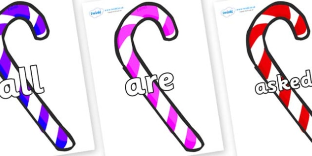 Tricky Words on Candy Canes (Multicolour) - Tricky words, DfES Letters and Sounds, Letters and sounds, display, words