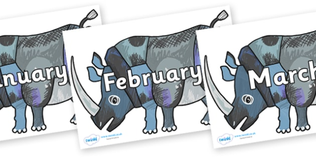 Months of the Year on Rhinoceros to Support Teaching on The Bad Tempered Ladybird - Months of the Year, Months poster, Months display, display, poster, frieze, Months, month, January, February, March, April, May, June, July, August, September