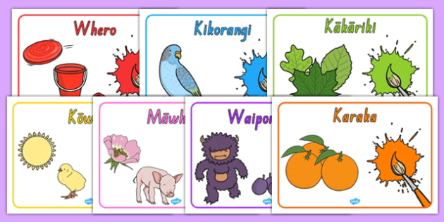 Te Reo Māori Colours Posters - nz, new zealand, poster, displays, display, visual, aid, colour, rainbow