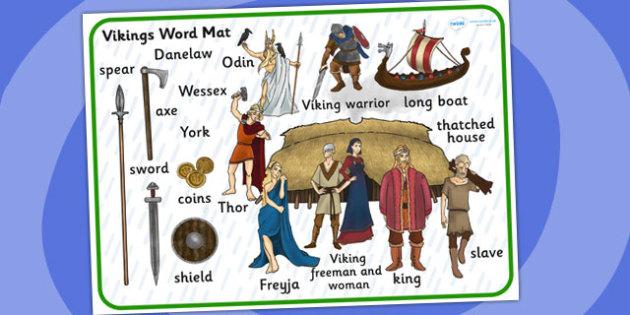 Viking Word Mat - viking, word mat, keywords, visual aid, writing