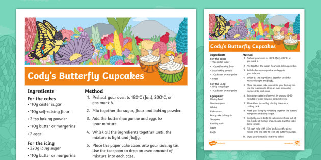 The Cautious Caterpillar Cody's Butterfly Cupcake Recipe
