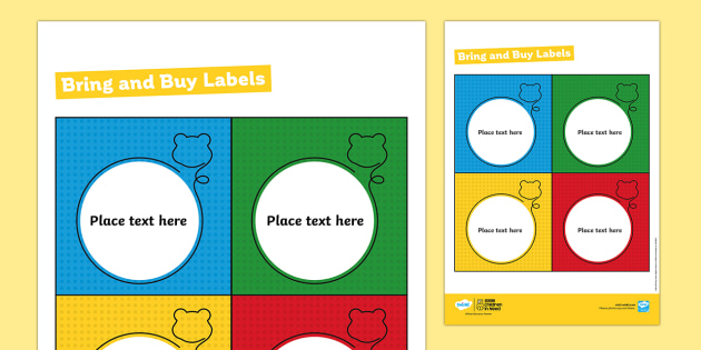 BBC Children in Need Bring and Buy Labels