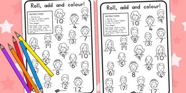 Royal Family Colour and Rol Worksheet - royality, queen elizabeth