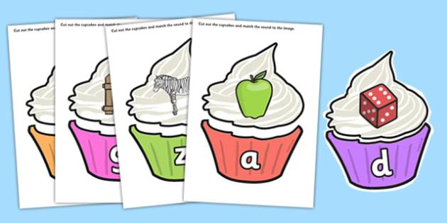 Match the Alphabet on Multicolour Cupcakes - match, alphabet, multicolour, cupcakes