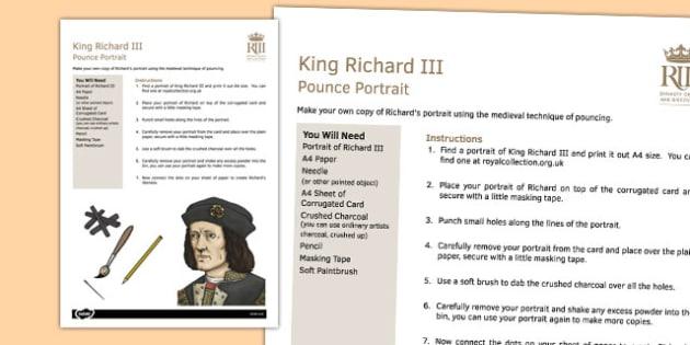 Richard III Pounce Portrait Instructions - richard III, pounce