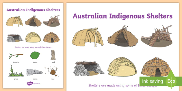 Aboriginal Shelter Display Poster Aboriginal Huts Humpies