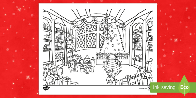 santas workshop coloring sheet