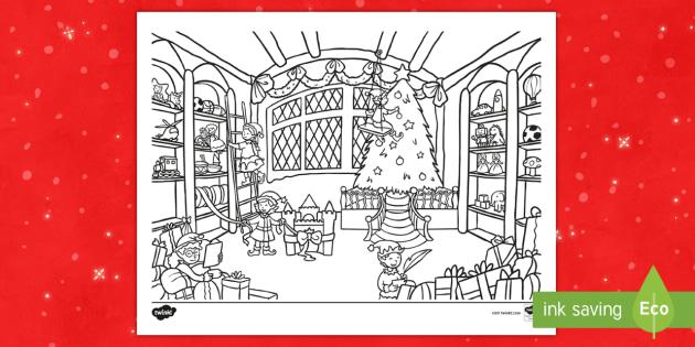 santas workshop coloring sheet