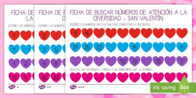 de San Valentín Ficha de buscar números de atención a la diversidad - San Valentín, números, secuencia, secuenciar, faltan,Spanish