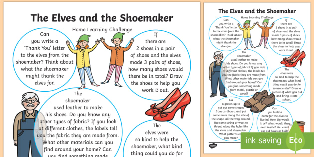 Home Learning Challenge Sheet Reception FS2 - The Elves and the Shoemaker, traditional tales, Christmas, homework, home learning, parents