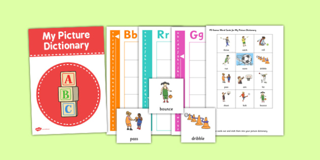 PE Games Picture Dictionary and Word Card Set - dictionary, pe