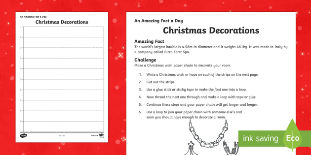 Amazing Fact a Day KS2 Countdown to Christmas Day 8 Christmas Wish Paper Chain Activity Sheet - Amazing Fact Of The Day, activity sheets, powerpoint, starter, morning activity, December, Christmas