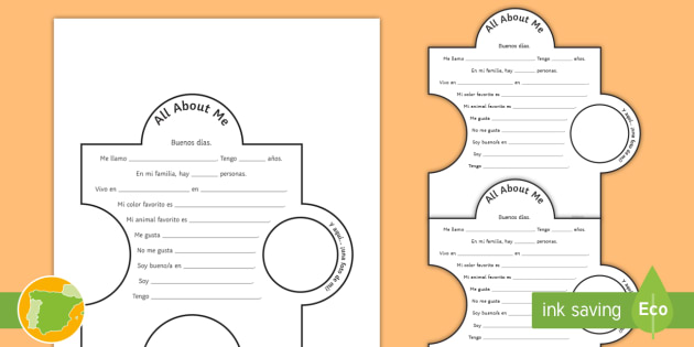 All About Me Display Jigsaw Activity Spanish - Spanish Reading Comprehensions, all about me, ourselves, display, puzzle, jigsaw, description