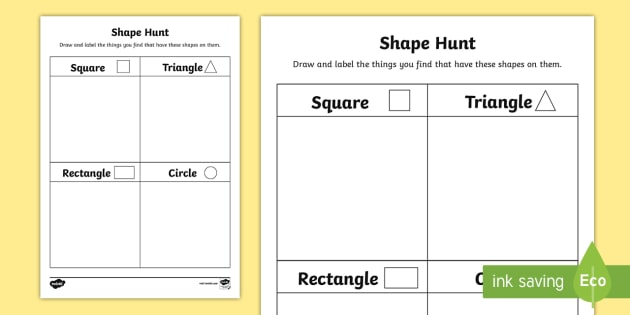 shape hunt worksheet worksheet back to school junior infants 2d. Black Bedroom Furniture Sets. Home Design Ideas