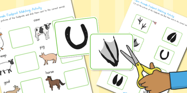 Farm Animals Footprint Matching Activity - australia, matching