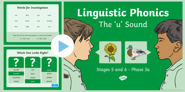 Northern Ireland Linguistic Phonics Stage 5 and 6 Phase 3a, 'u' Sound PowerPoint