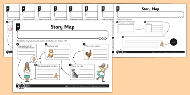 The Gingerbread Man Story Map Differentiated Worksheet /