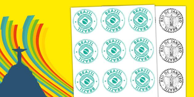 Brazil Passport Stamp Cut Outs - brazil, passport, stamp, cut outs