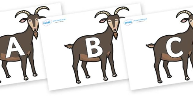 A-Z Alphabet on Big Billy Goats - A-Z, A4, display, Alphabet frieze, Display letters, Letter posters, A-Z letters, Alphabet flashcards
