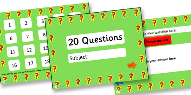 20 questions basic adaptable powerpoint quiz template 20