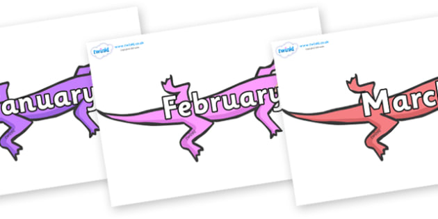 Months of the Year on Lizards - Months of the Year, Months poster, Months display, display, poster, frieze, Months, month, January, February, March, April, May, June, July, August, September