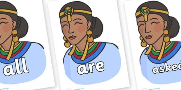 Tricky Words on Egyptian Women - Tricky words, DfES Letters and Sounds, Letters and sounds, display, words