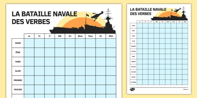 Verbs Battle Ships Game French