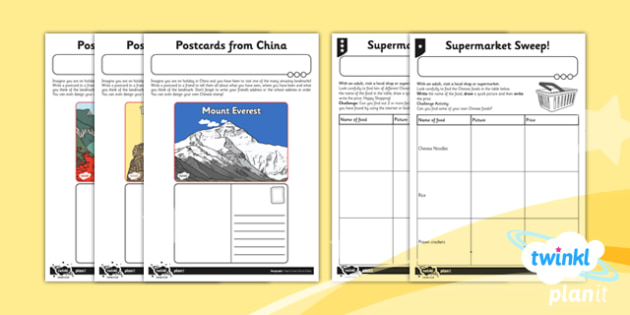 Geography: Let's Go to China Year 2 Unit Home Learning Tasks