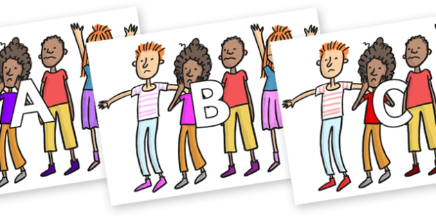 A-Z Alphabet on Children to Support Teaching on The Enormous Crocodile - A-Z, A4, display, Alphabet frieze, Display letters, Letter posters, A-Z letters, Alphabet flashcards