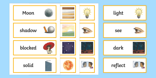 Year 3 Light Scientific Vocabulary Cards - science, lights