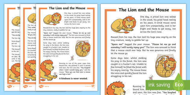 The Lion and the Rat friendship story Coloring Pages | 315x630