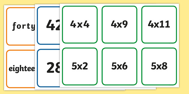 Times Table Snap Cards - times tables, times table snap cards ...