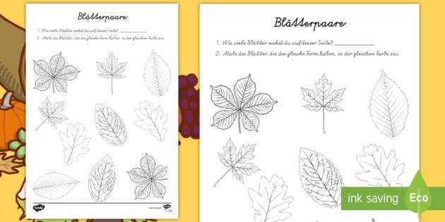 Blätterpaare Arbeitsblatt: Lesen und Malen - DE Herbst