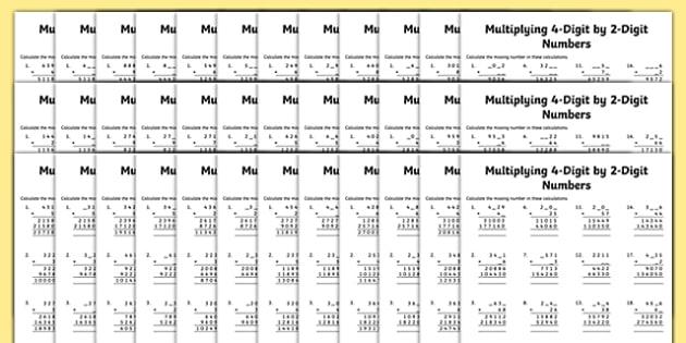 Multiplication 4-Digit x 2-Digit Missing Numbers Differentiated Activity Sheet Pack, worksheet