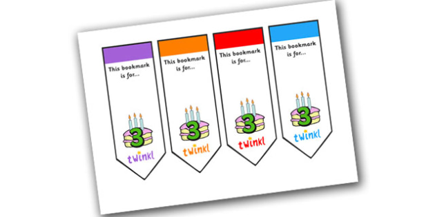 Editable Birthday Bookmarks (Age 3) - Bookmark, birthday, age 2, birthday gift, present, book, reward, achievement