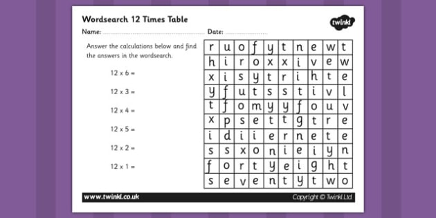 Multiplication 12 Times Tables Wordsearch Worksheet - multiplication, 12 times tables, wordsearch, worksheet, times tables, times, tables, maths, numeracy