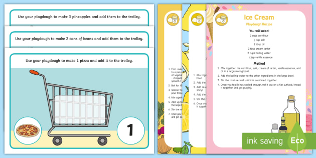 Shopping-Themed Number 1-10 Playdough Recipe and Mat Pack - shops, supermarket, corner shop, trolley, basket, maths, counting, number recognition,