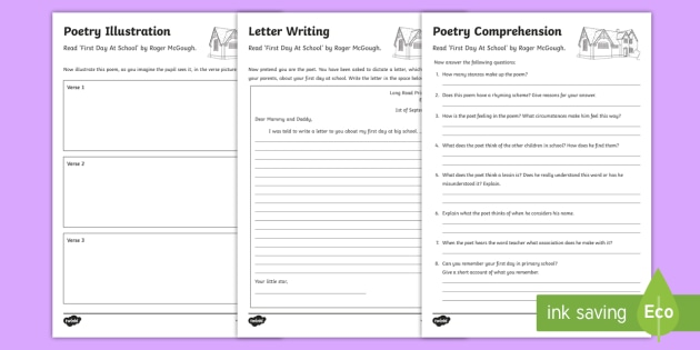 poetry worksheet worksheets to support teaching on first day back by roger. Black Bedroom Furniture Sets. Home Design Ideas