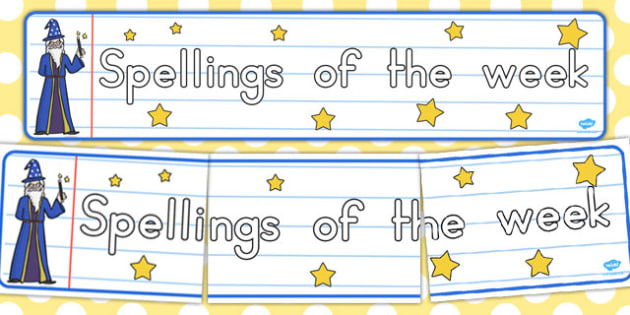 Spellings of the Week Display Banner - australia, spellings