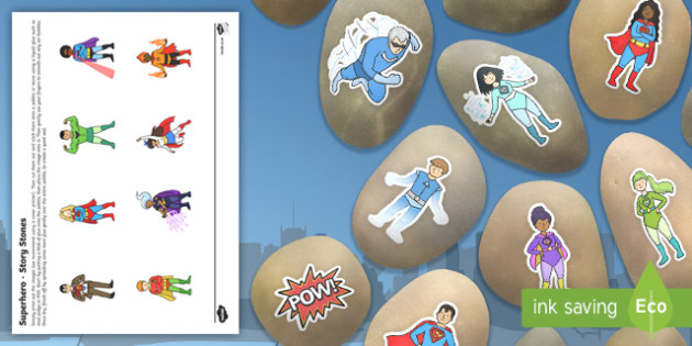 Superhero Themed Story Stone Image Cut Outs - story stone, image, cut outs