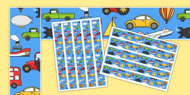 Transport Display Borders - Display border, classroom border, border, car, van, lorry, bike, motorbike, plane, aeroplane, tractor, truck, bus