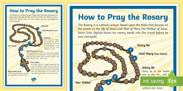 How to Pray the Rosary A4 Display Poster - Saint John Ogilvie, Catholic