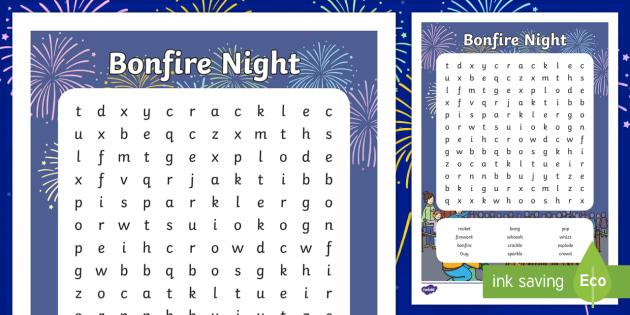 Bonfire Night Wordsearch - Bonfire Night Wordsearch, bonfire
