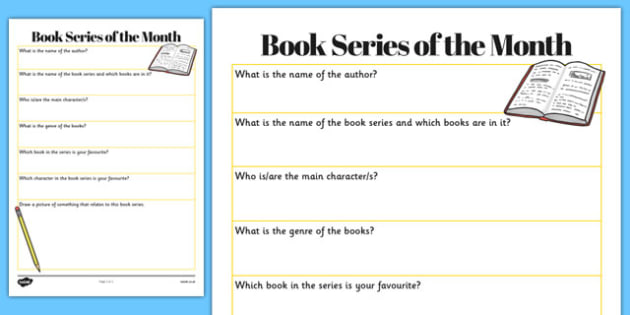 Book Series of the Month Worksheet - book series, month, worksheet, book, series, author, title, favourite